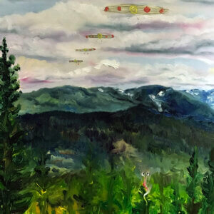 Landscape oil painting with an alien creature in a tree and UFOs in the sky