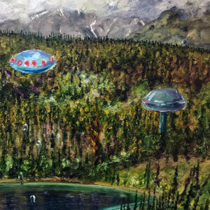 Oil painting landscape of emerald lake with 3 tall alien like structures
