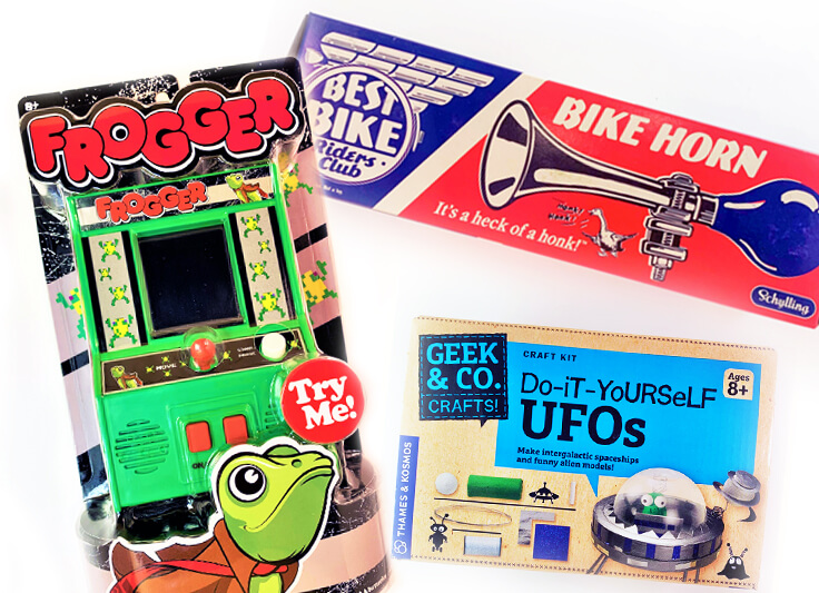Display of products: frogger, DIY UFOS and bike horn